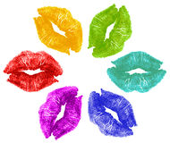 Lipstick kisses in color Stock Photos