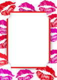 Lipstick kisses frame Royalty Free Stock Photo