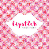Lipstick lettering banner Dot background silhouette of lips smile Stock Photos