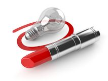 Lipstick with Light bulb Stock Image