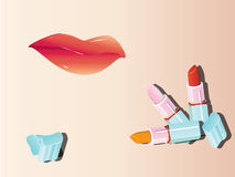 Lipstick and lip. Vector image of lipstick and lip Royalty Free Stock Photos