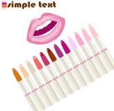 Lipstick and lip set Stock Photography
