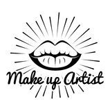 Lipstick. Lips. Make Up Artist Badge. Beauty Industry Design Elements Stock Photos