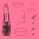 Lipstick and  lips sketch Stock Image