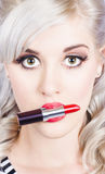 Lipstick makeup and lipgloss. Make-up professional Royalty Free Stock Photography