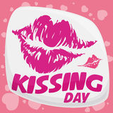 Lipstick Mark Commemorating Kissing Day, Vector Illustration royalty free stock photo