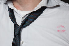 Lipstick marks on a men's shirt Stock Images