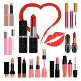 Lipstick mockup set kiss, realistic style Royalty Free Stock Photos