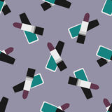 Lipstick with nail polish seamless pattern 4. Green nail polish and plum lipstick at a violet background royalty free illustration