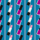 Lipstick with nail polish seamless pattern 3. Light pink lipstick and purple nail polish at a blue background with stripes Stock Photo