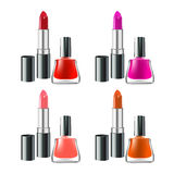 Lipstick and nail polish set isolated on white background. Created with gradient meshes Stock Photography