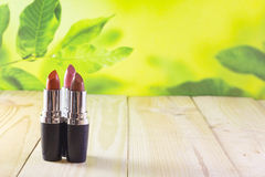 Lipstick. Open lipstick on a board are among nature Stock Images
