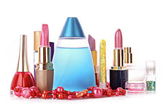 Lipstick and perfume isolated royalty free stock photography