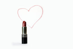 Lipstick and pictured heart Stock Image