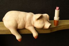 Lipstick on a pig Stock Images