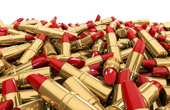 Lipstick pile. 3D render of red lipsticks Stock Image