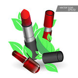 Lipstick pink icon beauty salon cosmetics. Red lipstick illustralion. Vector clip art of pink lipstic. Make up element, lipstick closeup. Red lipstick on Royalty Free Stock Photo