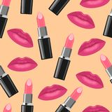 Lipstick and pink kisses fashion seamless pattern. Vector Lipstick and kisses seamless pattern Royalty Free Stock Photography