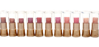 Lipstick in plastic case in line Stock Photos