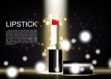Lipstick poster with glittering light background.  Royalty Free Stock Photo