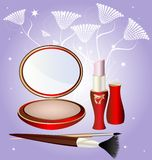 Lipstick and powder. On an abstract background of a large round powder, lipstick, and two cosmetic brush Royalty Free Stock Photo