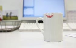 Lipstick Print On Coffee Mug Stock Images