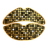 Lipstick print with sparkles Royalty Free Stock Photos