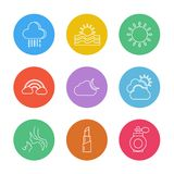 Lipstick  , rainbow , sun , Ecology , eco , icons , weather , en. Viroement , icon, vector, design,  flat,  collection, style, creative,  icons , cloud , rain Stock Photos
