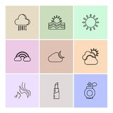 Lipstick  , rainbow , sun , Ecology , eco , icons , weather , en. Viroement , icon, vector, design,  flat,  collection, style, creative,  icons , cloud , rain Royalty Free Stock Photos