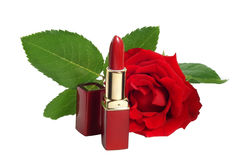 Lipstick and rose Stock Photos