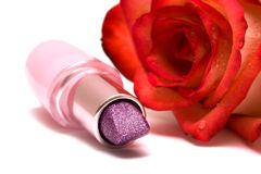 Lipstick with rose Royalty Free Stock Images
