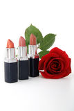 Lipstick and rose Royalty Free Stock Photo