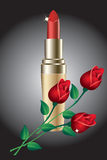 Lipstick and roses. Stock Images