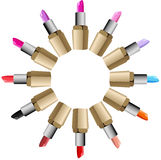 Lipstick round palette set Royalty Free Stock Photo