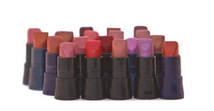Lipstick samples. Group of lipstick samples against a white background Stock Photo