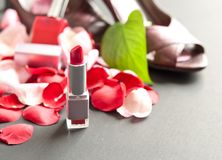 Lipstick with Scattered Rose Petals Royalty Free Stock Image