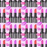 Lipstick. Seamless pattern with beauty items. Hand Royalty Free Stock Images