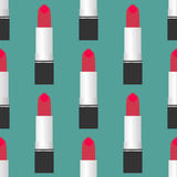 Lipstick seamless pattern. Red lipstick on a green background Stock Image