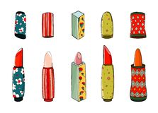 Lipstick Set Colorful Drawing Royalty Free Stock Images