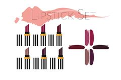 Lipstick set isolated on white royalty free illustration
