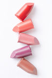 Lipstick sliced collection on white Royalty Free Stock Images