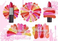 Lipstick Smear Sample Set Vector Realistic Illustration Royalty Free Stock Photos