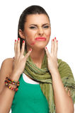 Lipstick smeared on face Royalty Free Stock Images