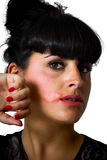 Lipstick smeared woman Royalty Free Stock Images
