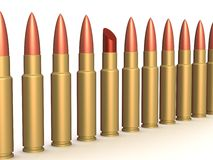 Lipstick among of some bullets. 3D image Stock Image