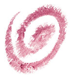 Lipstick trace. Pink lipstick trace over white background stock photos