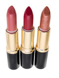 Lipstick trio isolated on white background Royalty Free Stock Images