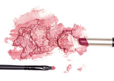 Lipstick tube with smeared lipstick wine color Stock Photo