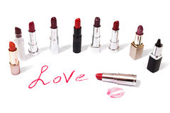 Lipstick  on white background. Female lip penci Royalty Free Stock Photography