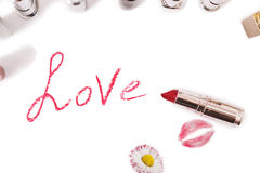 Lipstick  on white background. Female lip pencil. Kiss of lips on the paper. Royalty Free Stock Photos